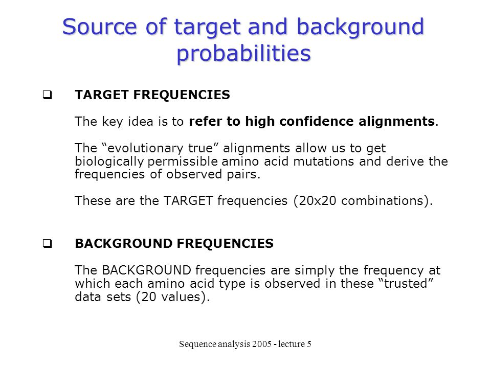 Source of target and background probabilities
