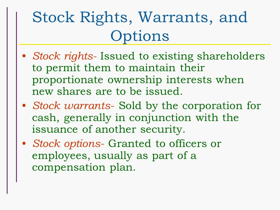 Issuance of stock options