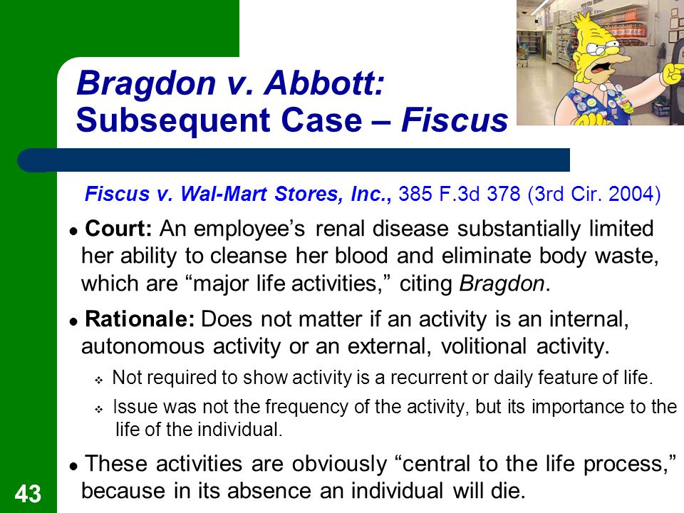 bragdon v abbott Americans with disabilities act: bragdon v abbott appealed from: us court of appeals, 1st circuit subjects: title iii of the americans with disabilities act hiv duties of health care.