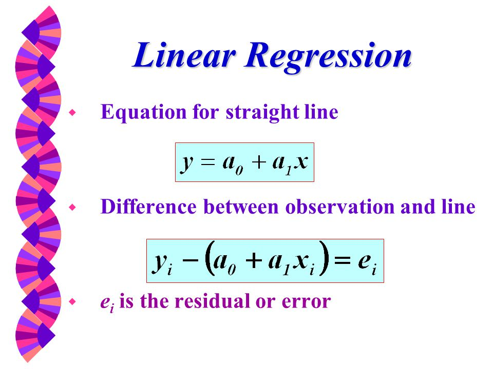Linear Regression Equation for straight line