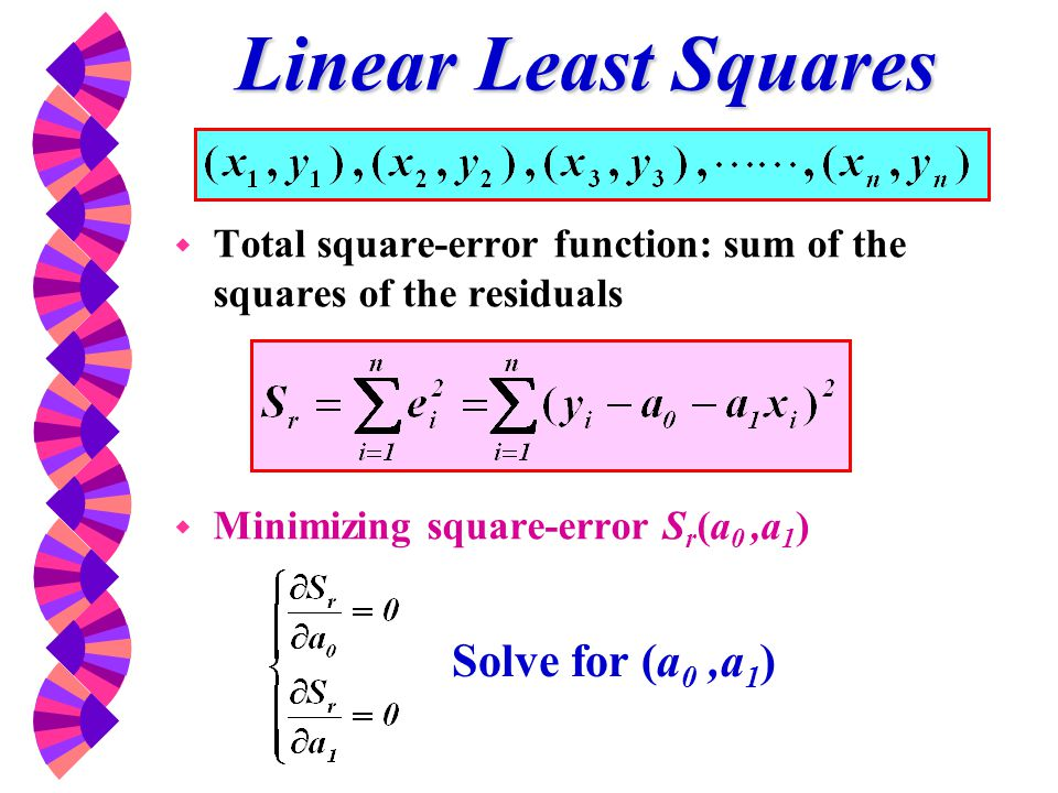 Linear Least Squares Solve for (a0 ,a1)