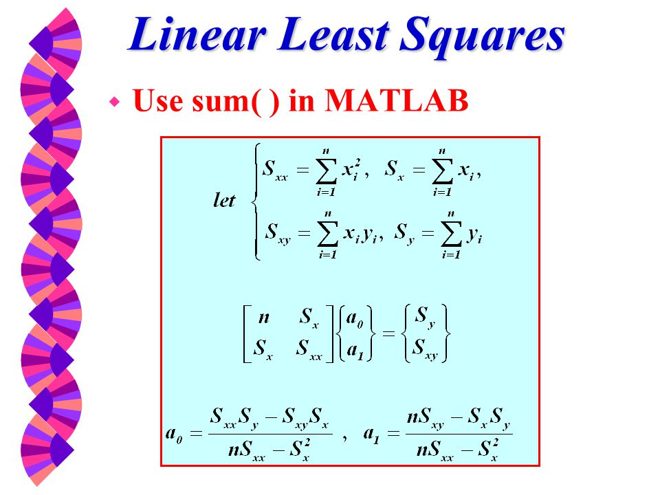 Linear Least Squares Use sum( ) in MATLAB