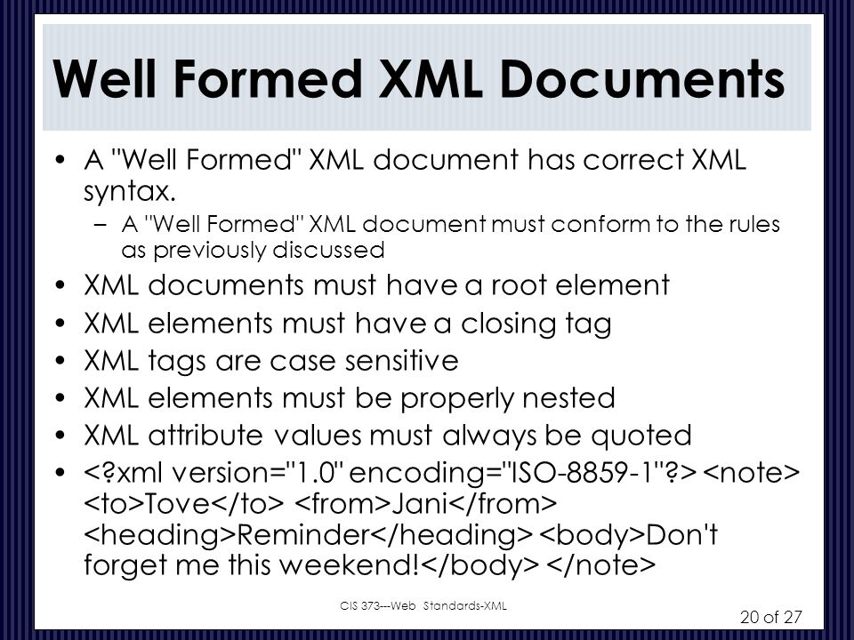 Well Formed XML Documents