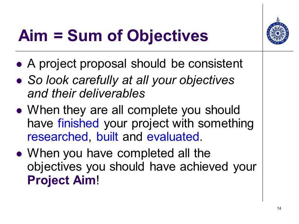 Aim U003d Sum Of Objectives A Project Proposal Should Be Consistent