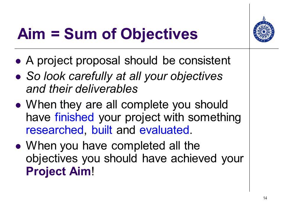 Aim U003d Sum Of Objectives A Project Proposal Should Be Consistent