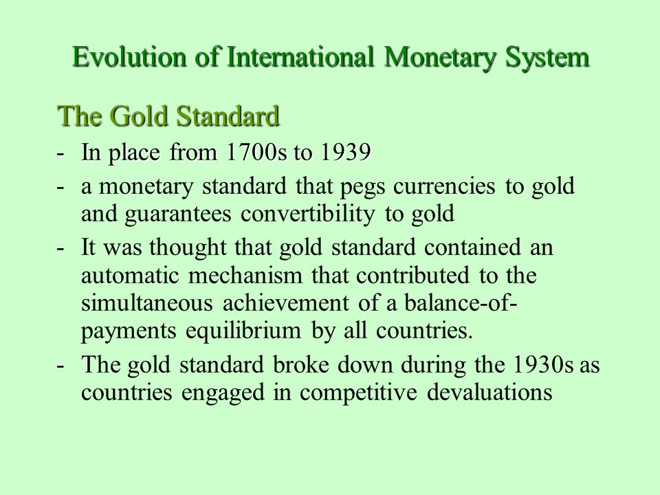 Evolution gold trading system