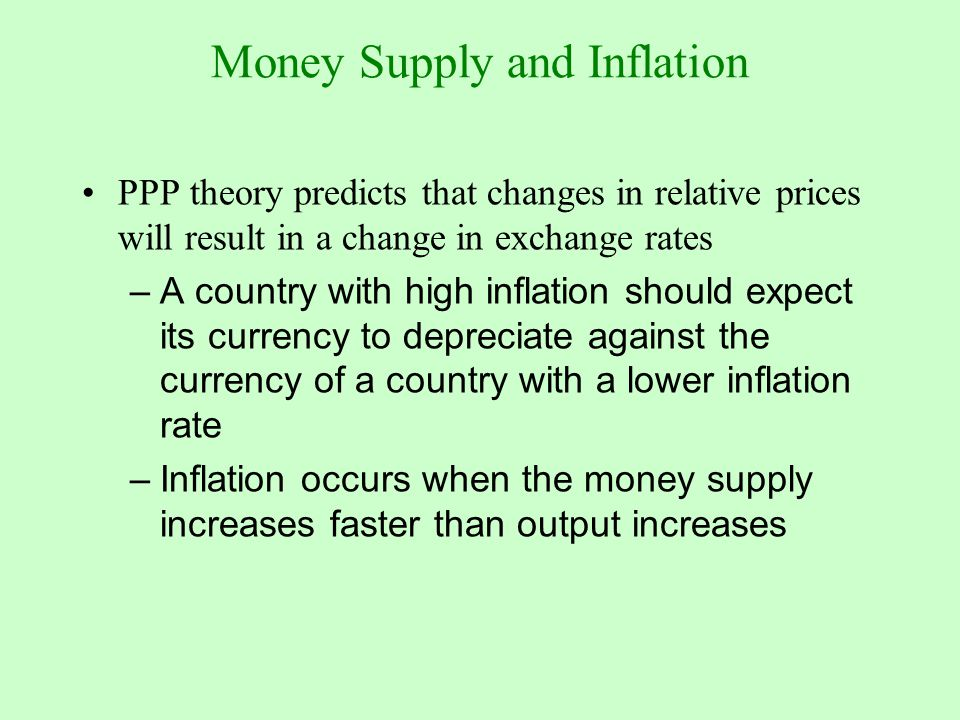 effect of inflation and exchange rate on the ppp theory Series of theories correlate the exchange rate with the inflation rate and interest rate among which stand: fisher effect, purchasing power parity theory, expectations theory as well as interest rate parity and the international fisher effect.