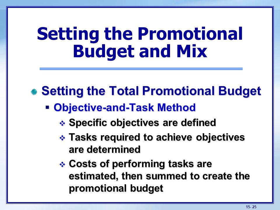 Setting the Promotional Budget and Mix