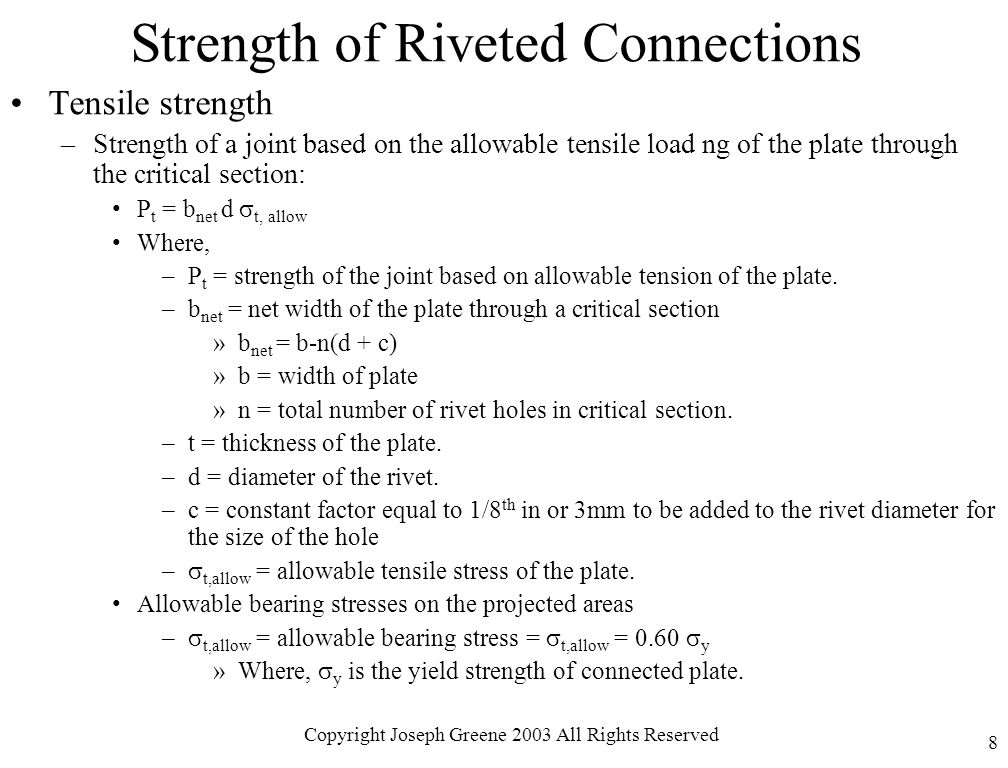 Strength of Riveted Connections