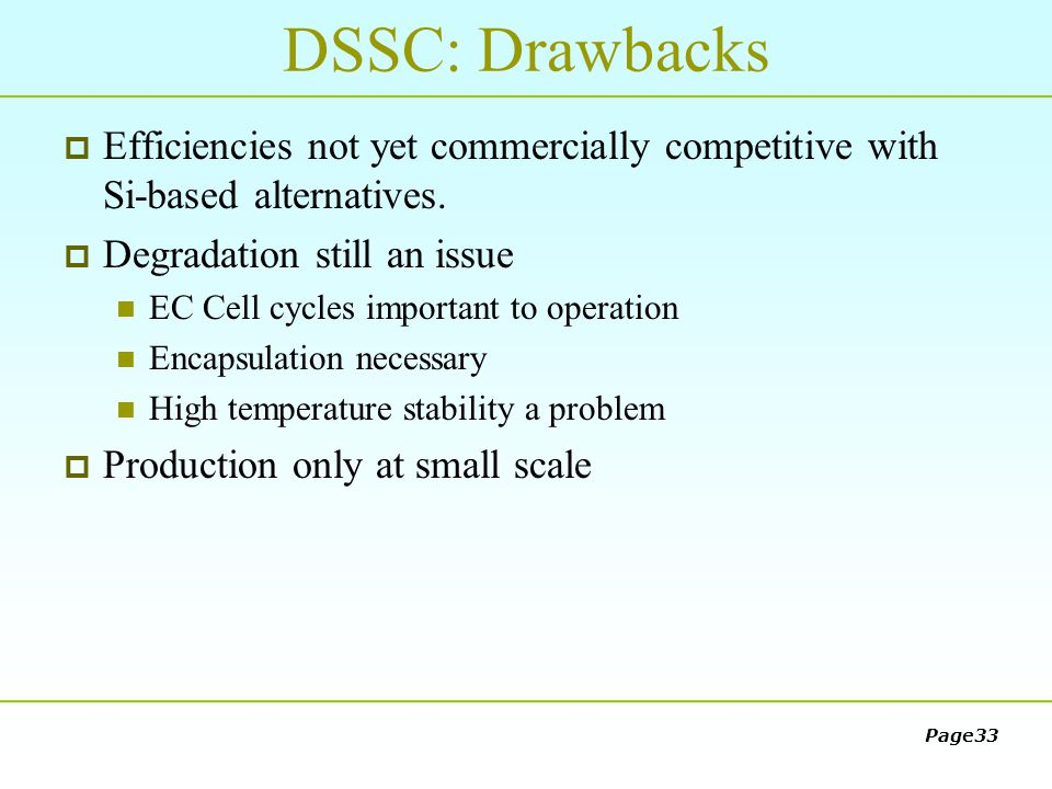 dssc solar cell thesis Gcell is the brand leader of dye sensitized solar cells (dssc) from g24 power, a 3rd generation solar cell that converts any light into electrical energy.