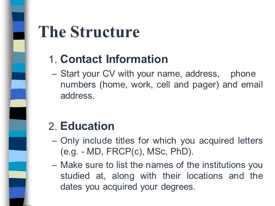how to structure a cv