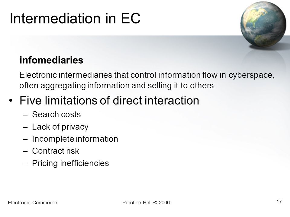 Intermediation in EC Five limitations of direct interaction