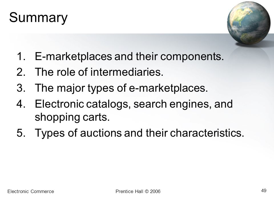 Summary E-marketplaces and their components.