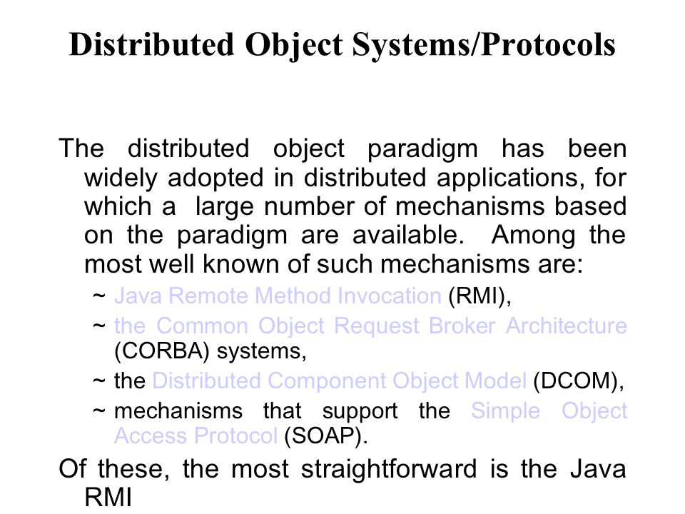 Distributed Object Systems/Protocols