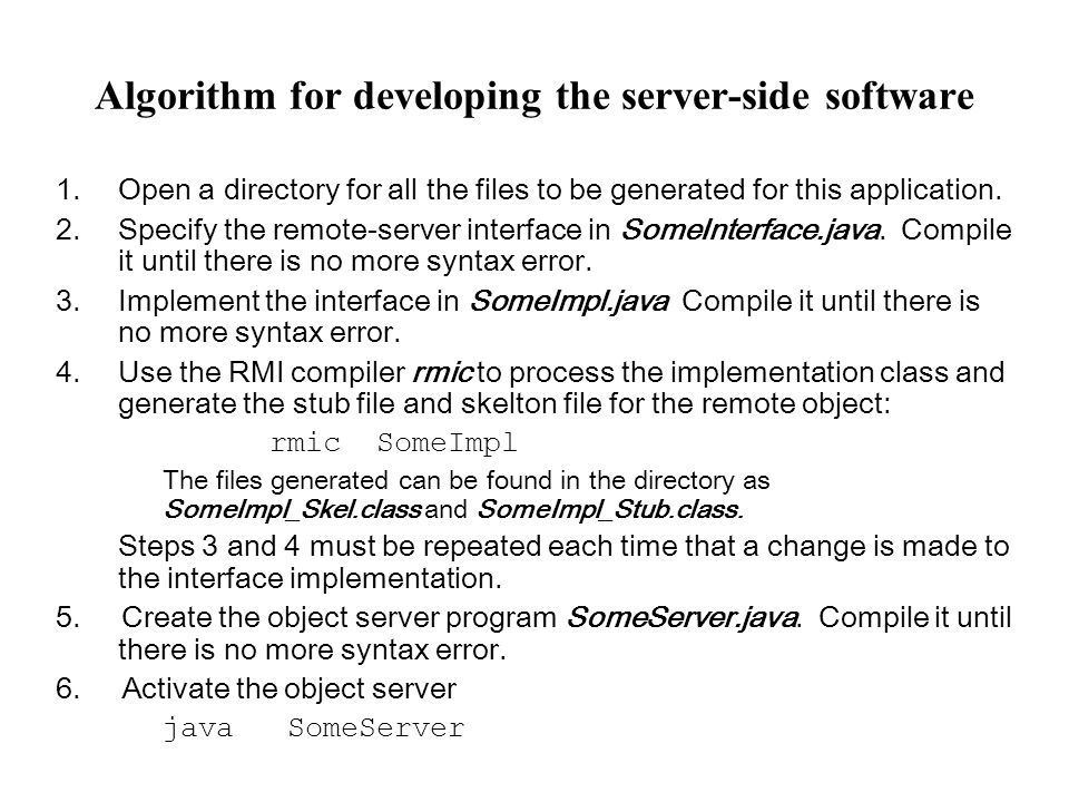 Algorithm for developing the server-side software