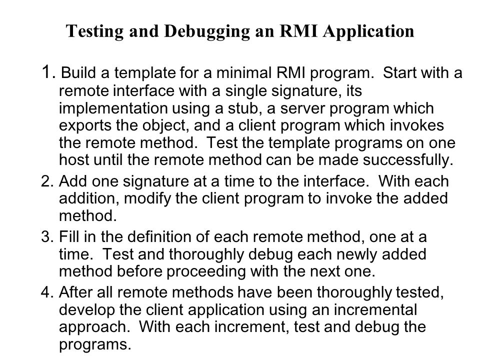 Testing and Debugging an RMI Application