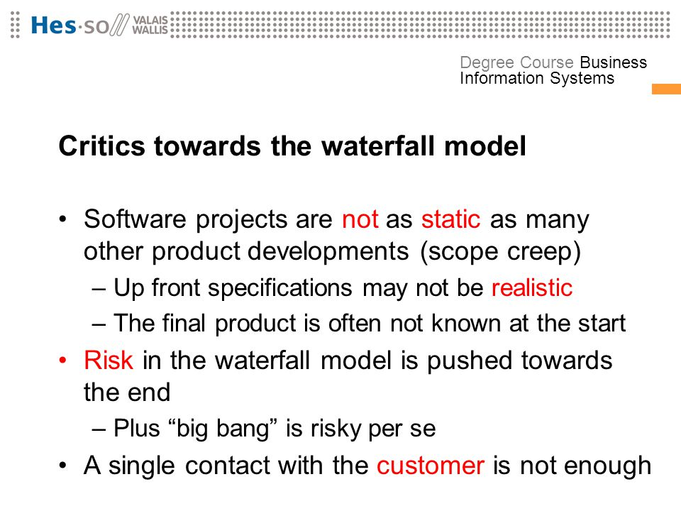 Critics towards the waterfall model