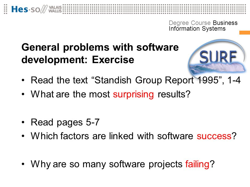 General problems with software development: Exercise