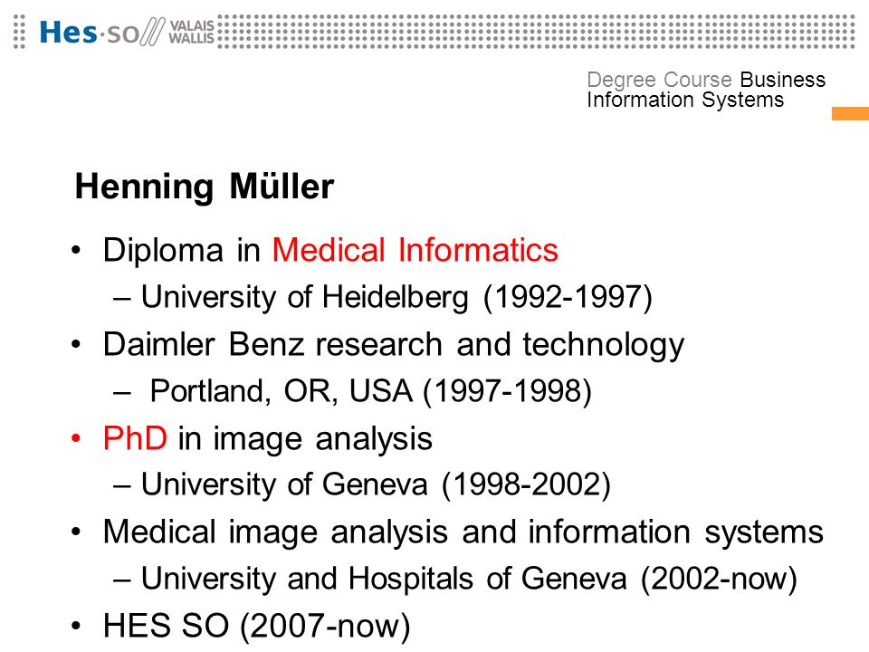 Henning Müller Diploma in Medical Informatics