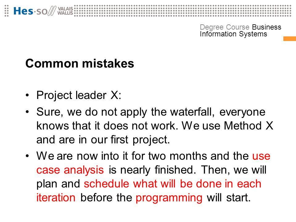 Common mistakes Project leader X: