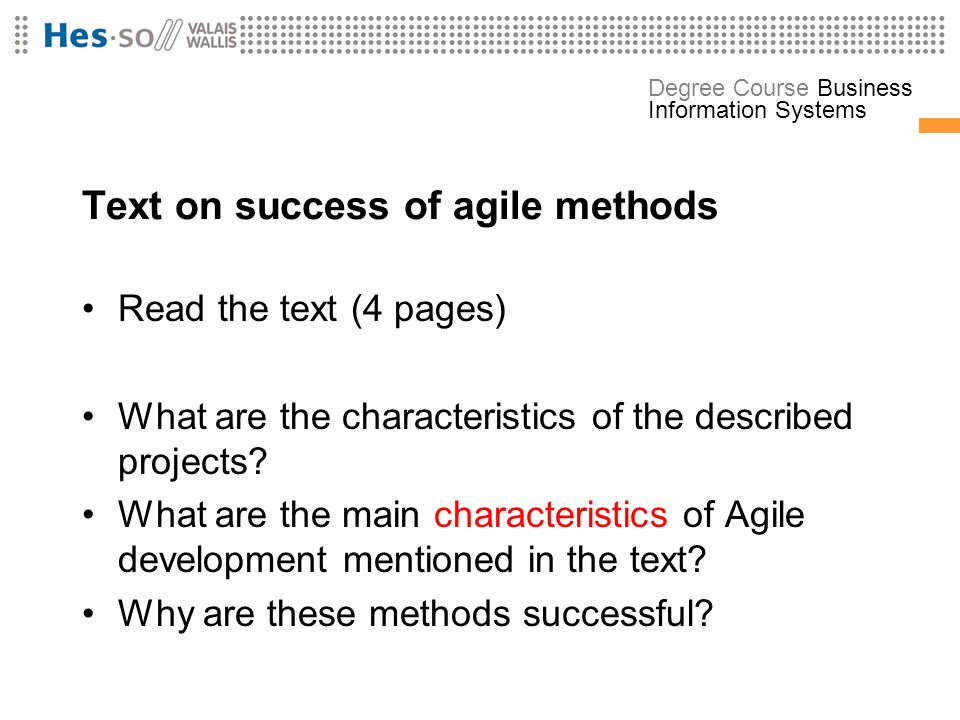 Text on success of agile methods