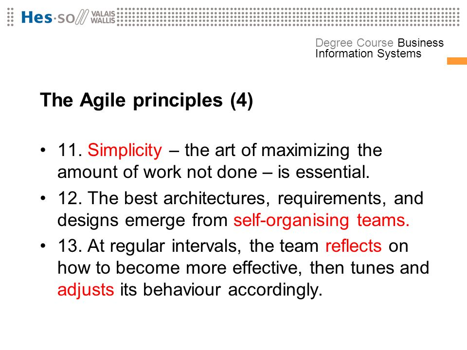 The Agile principles (4)