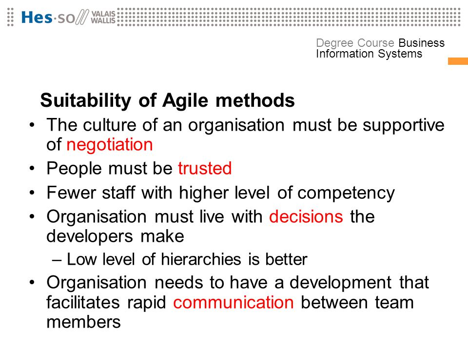 Suitability of Agile methods