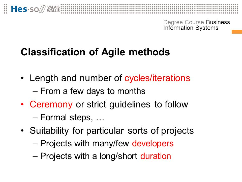 Classification of Agile methods