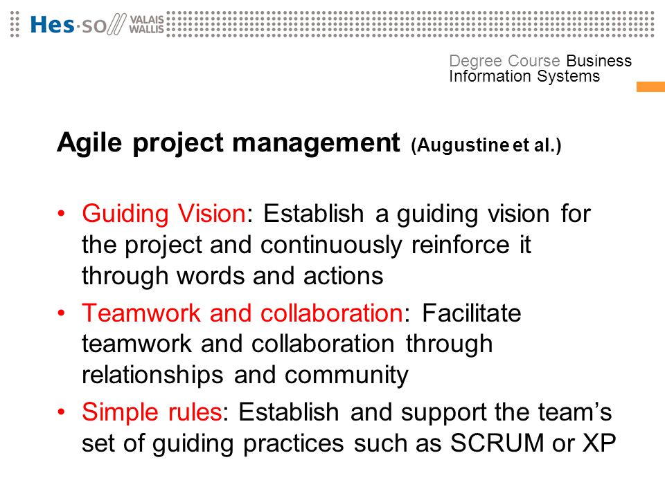 Agile project management (Augustine et al.)