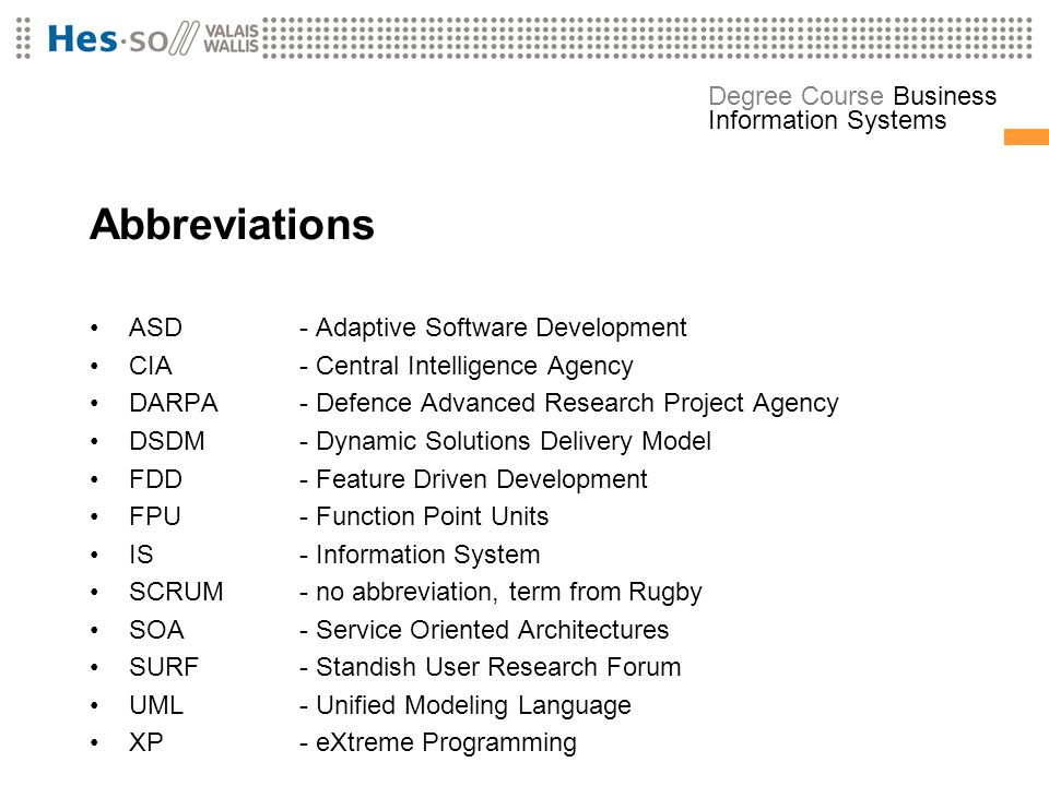 Abbreviations ASD - Adaptive Software Development