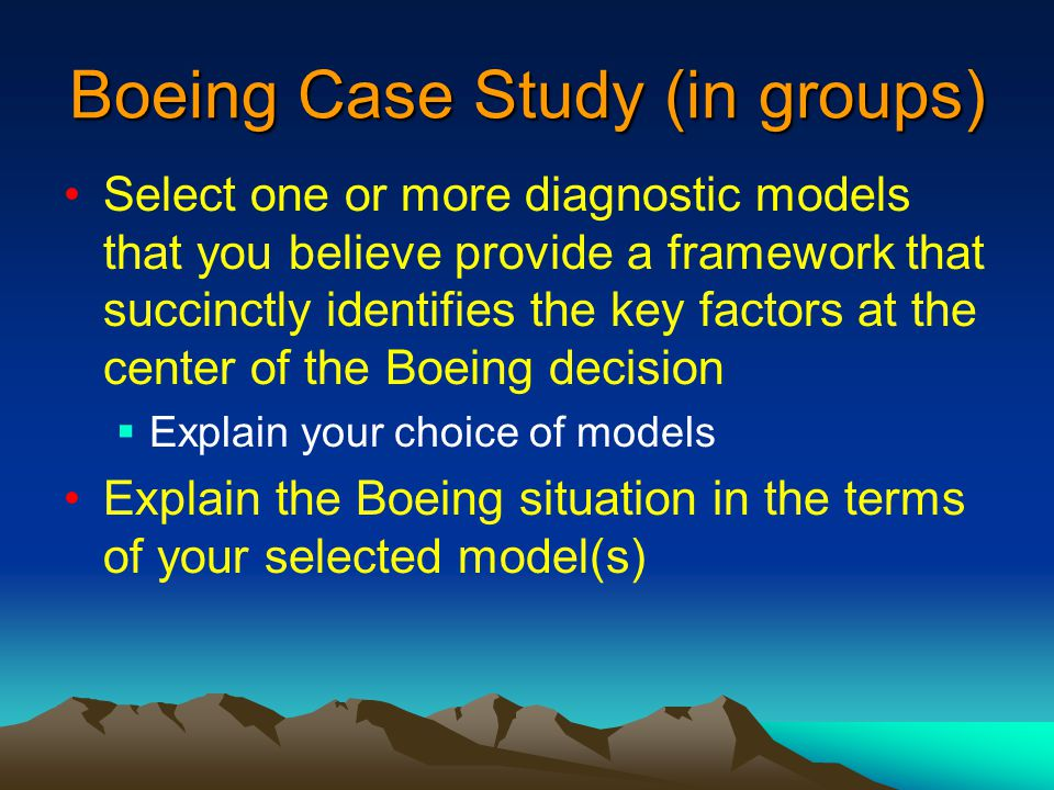 boeing diagnostic models The burke-litwin model is one of the diagnostic tools that could be used to identify issues at boeing this particular model differentiates between elements that are seen as a source of major 'transformational' change and those sources of change that as seen as incremental.