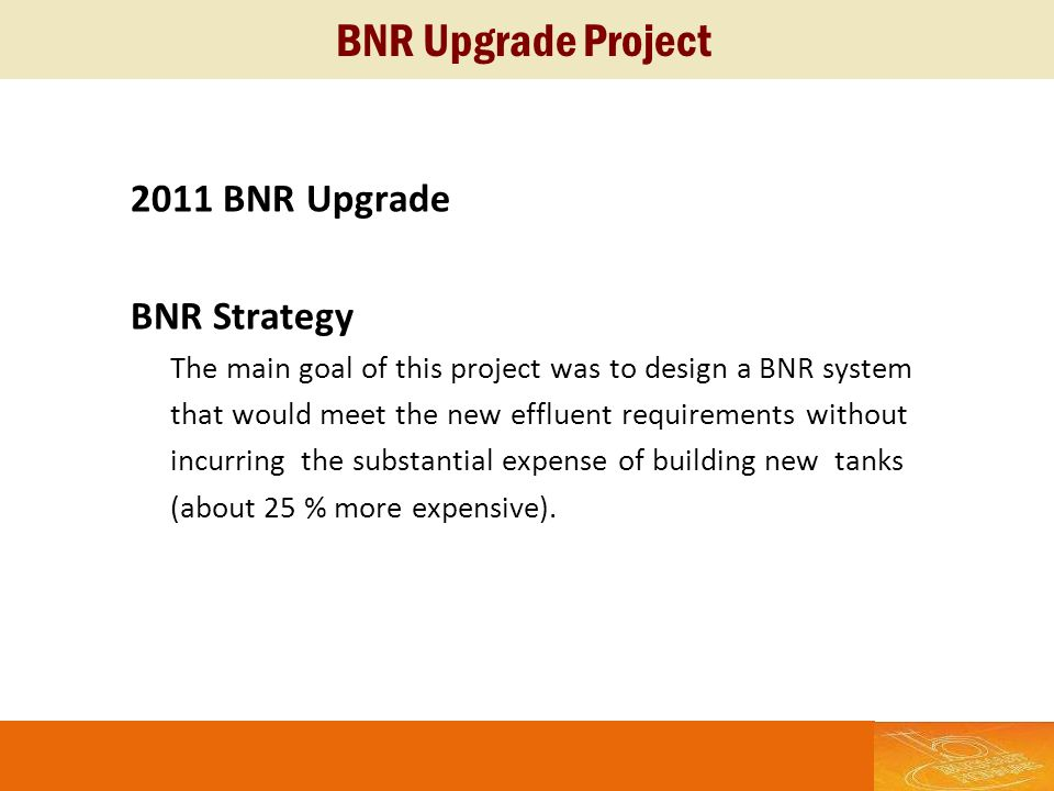 BNR Upgrade Project 2011 BNR Upgrade BNR Strategy