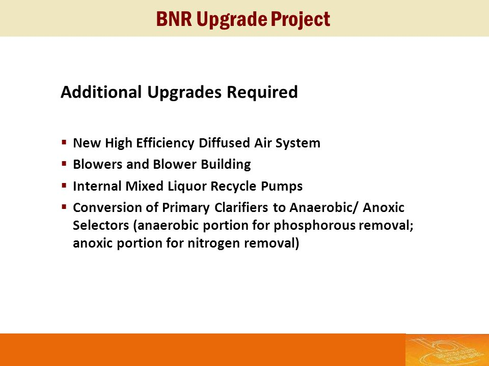 BNR Upgrade Project Additional Upgrades Required