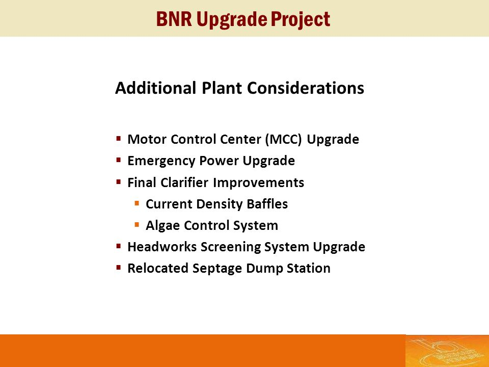BNR Upgrade Project Additional Plant Considerations