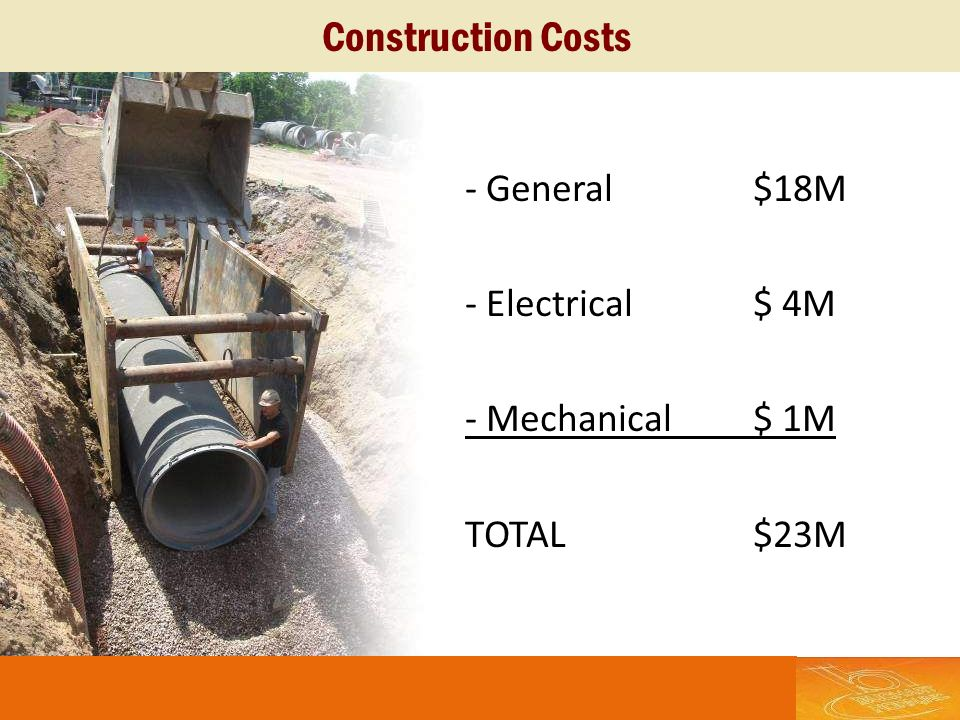 Construction Costs - General $18M - Electrical $ 4M - Mechanical $ 1M