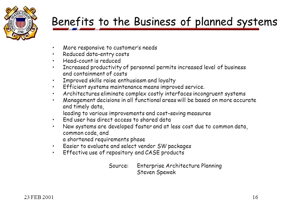 Benefits To The Business Of Planned Systems