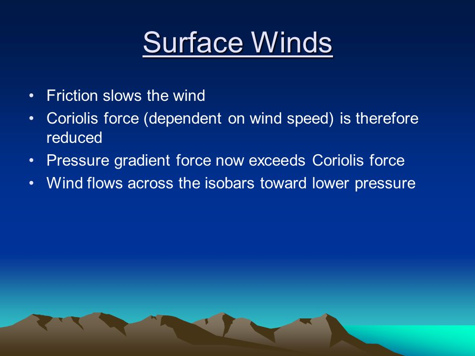 Surface Winds Friction slows the wind
