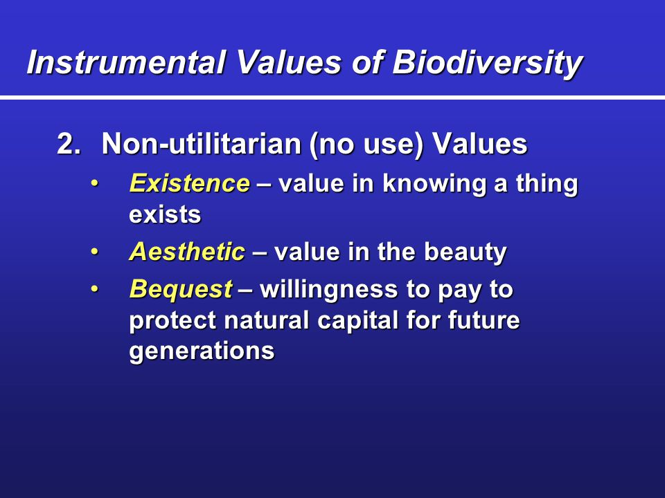 """intrinsic values of biodiversity """"traditional conservationists"""" advocate for the intrinsic value of nature,  on  nature's intrinsic value or an ethical duty to protect biodiversity."""