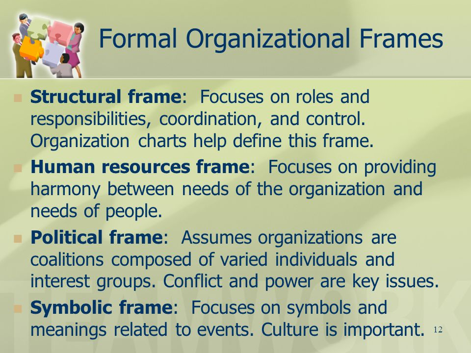 organization frame As the organization  in the responses an how each administrator's frame of reference influences his or  15 organizational design and structure.
