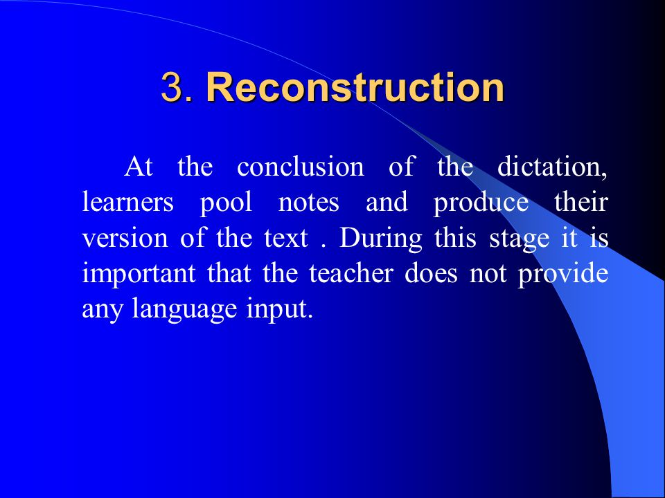 3. Reconstruction