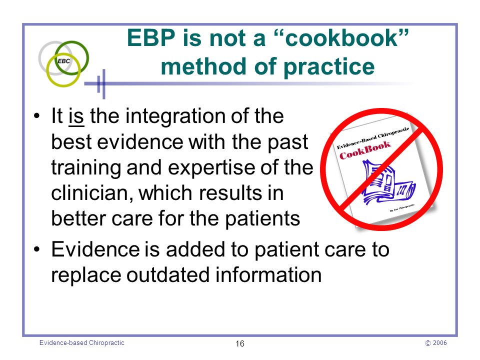 integration of evidenced based practice in Evidence-based practice nasw practice snapshot the institute of medicine (2001) defines evidence-based medicine as the integration of best researched evidence and clinical expertise with patient values (p 147) in social work.