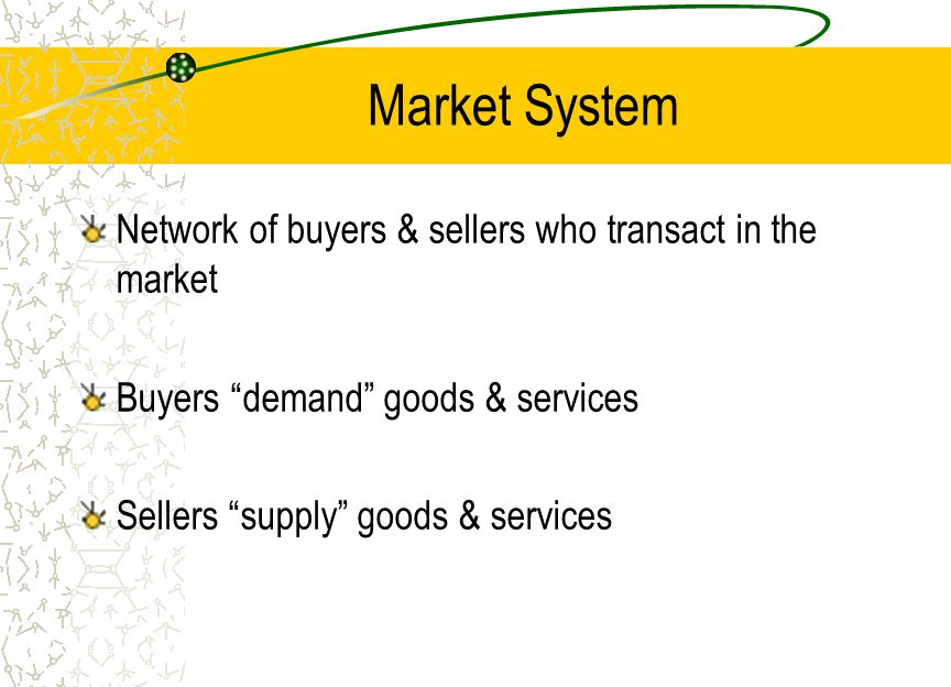 Market System Network of buyers & sellers who transact in the market
