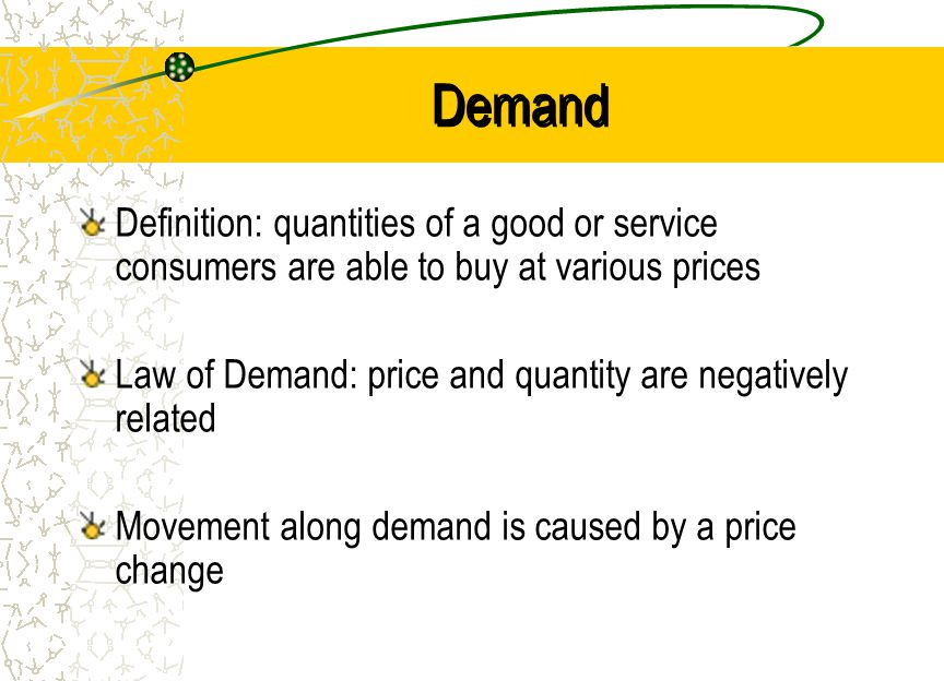 Demand Definition: quantities of a good or service consumers are able to buy at various prices.