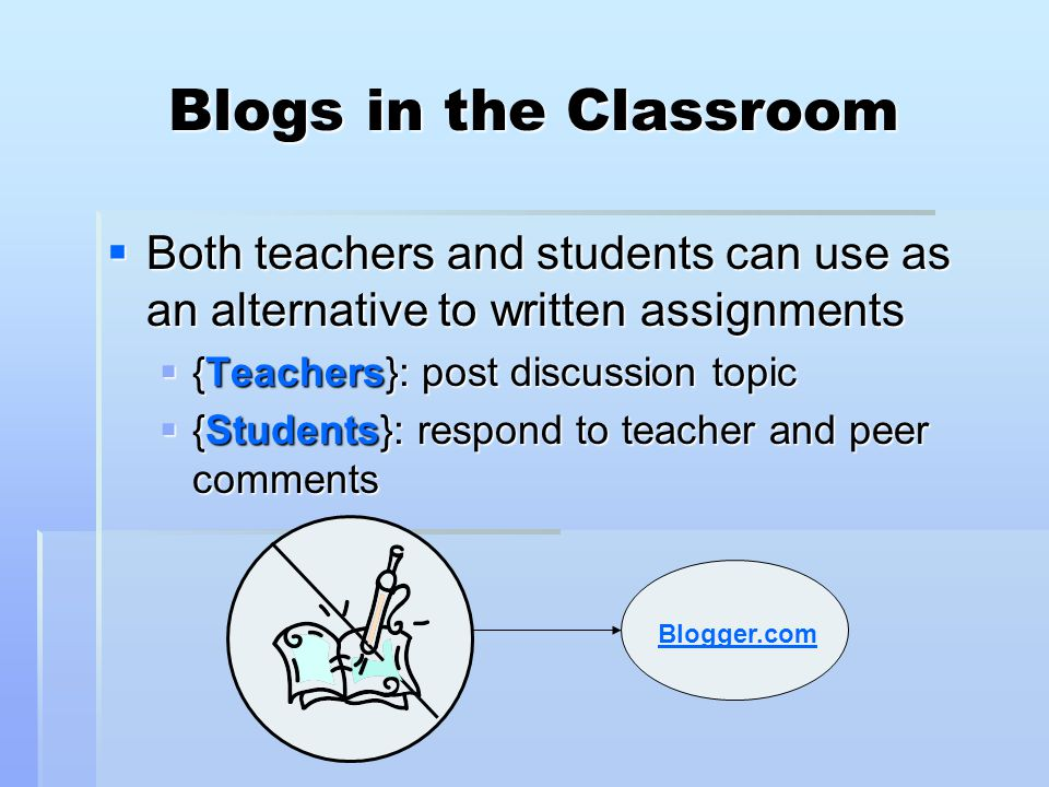 Blogs in the Classroom Both teachers and students can use as an alternative to written assignments.
