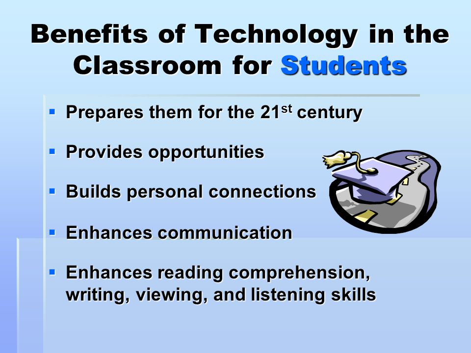 expanding the use of technology in the classroom essay Any use of technology in the classroom should have a clear purpose - and that purpose should have a benefit beyond more traditional ways of doing something if, for example, you intend for students to write an essay, what possible benefit is there in doing it via a word-processing application.