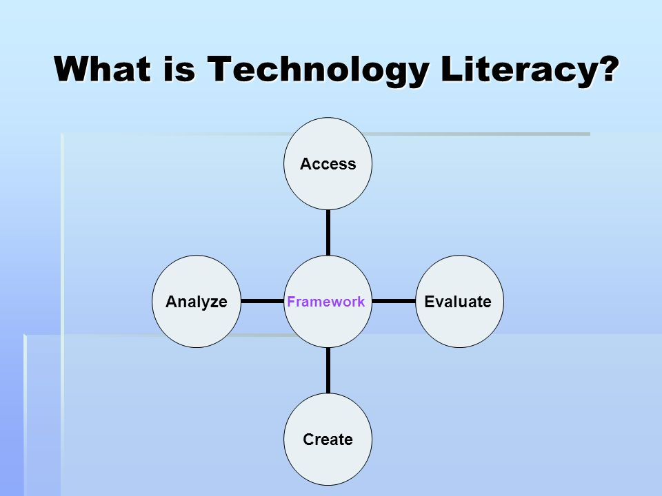technology literacy in education Recently mcrel assisted wyoming's department of education in determining how their districts and other states assess the technology literacy of 8th graders as required by no child left behind.