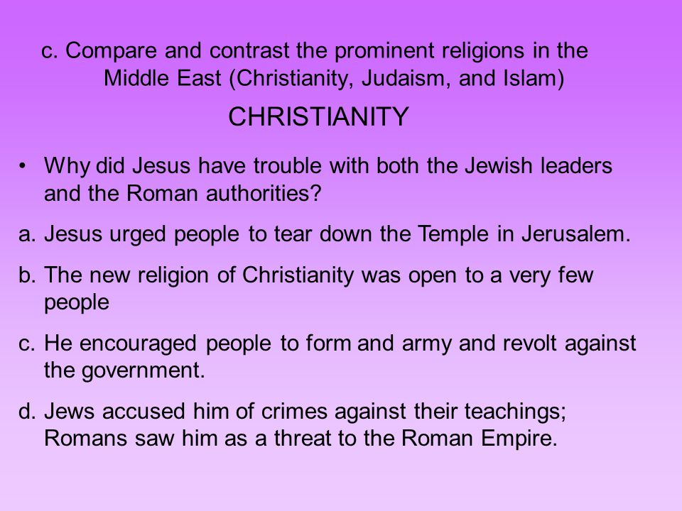 """compare and contrast islam christianity and judaism Compare and contrast christianity and islam in wikipedia religion is defined""""a religion is an organized collection of beliefs, cultural systems, and worldviews that relate humanity to an order of existence"""" there are approximately more than four thousand religion in the world christianity and ."""