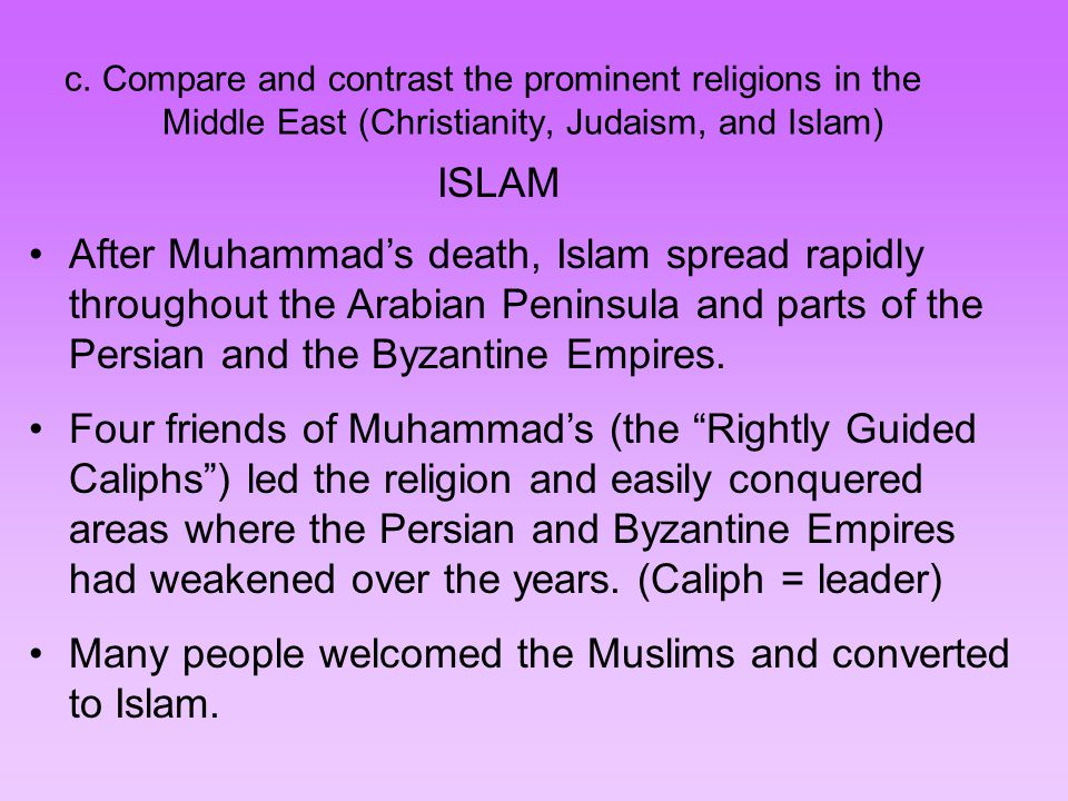 compare and contrast spread of islam Christian and islamic practice compared  monarchical character of the church as well as its englishness in contrast to  islam has been spread by.