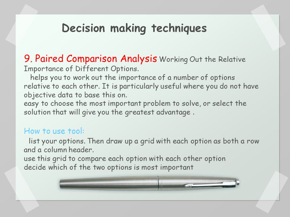 Problem Analysis and Decision-Making Technique Paper