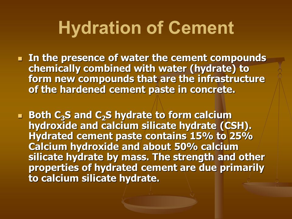 Calcium Silicate Hydrate : Subject cement types and characteristics of cements ppt